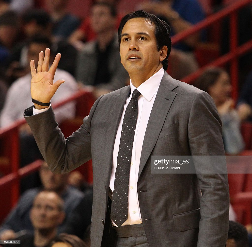 Miami Heat head coach Erik Spoelstra in the fourth quarter against the Los Angeles Clippers at the AmericanAirlines Arena in Miami on Sunday, Feb. 7, 2016. The Clippers won, 100-93.
