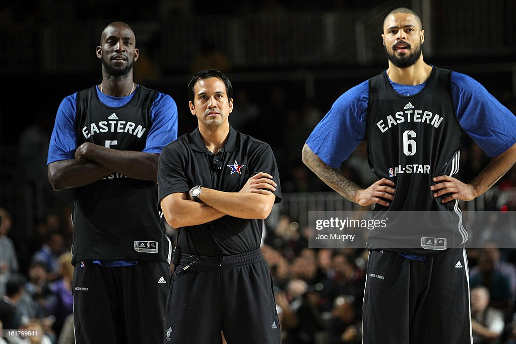 Miami Heat head coach Erik Spoelstra stands with Kevin Garnett #5 of the Boston Celtics and Tyson Chandler #6 of the New York Knicks during the NBA All-Star Practice in Sprint Arena during the 2013 NBA All-Star Weekend on February 16, 2013 at the George R. Brown Convention Center in Houston, Texas.