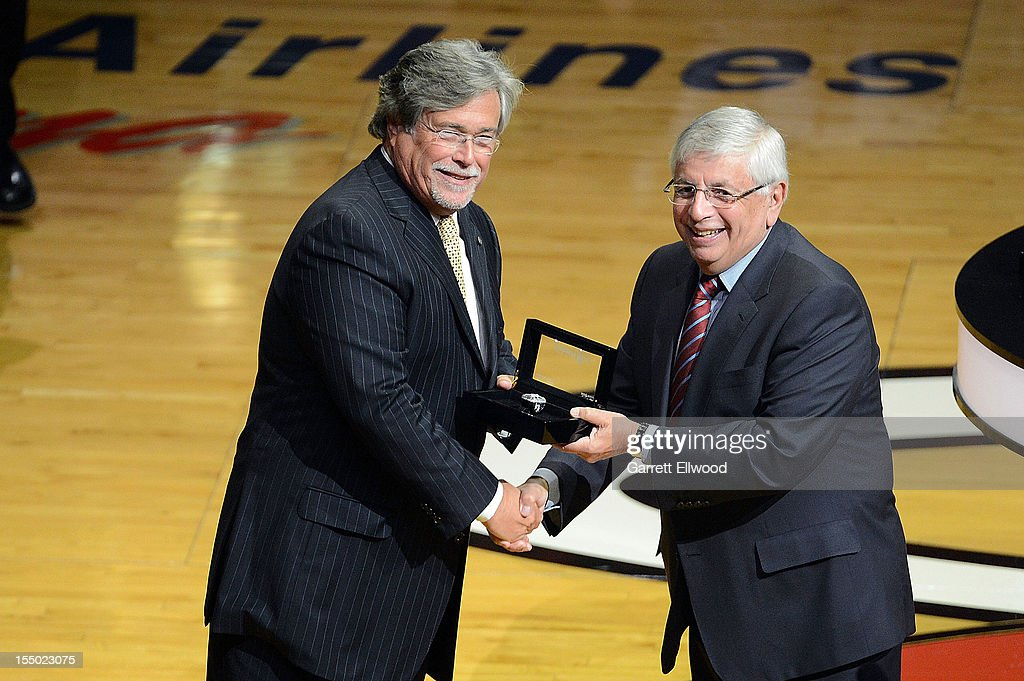 Miami Heat Owner Mickey Arinson receives his 2012 NBA Championship ring from Commissioner David Stern prior to the game against the Boston Celtics October 30, 2012 at American Airlines Arena in Miami, Florida.