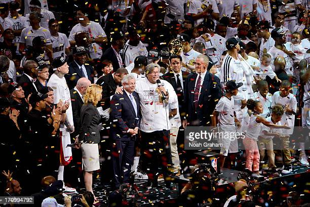 Miami Heat Owner Micky Arison celebrates following his team's victory against the San Antonio Spurs in Game Seven of the 2013 NBA Finals on June 20...