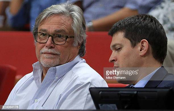 Miami Heat owner Micky Arrison looks on during a preseason game against the Brooklyn Nets at American Airlines Arena on October 11 2016 in Miami...