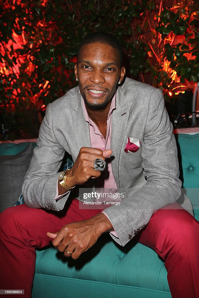 Miami Heat player Chris Bosh attends Samsung Galaxy Note II Presents: The Next Big Thing & The Ring at Soho Beach House Miami on October 30, 2012 in Miami Beach, Florida.
