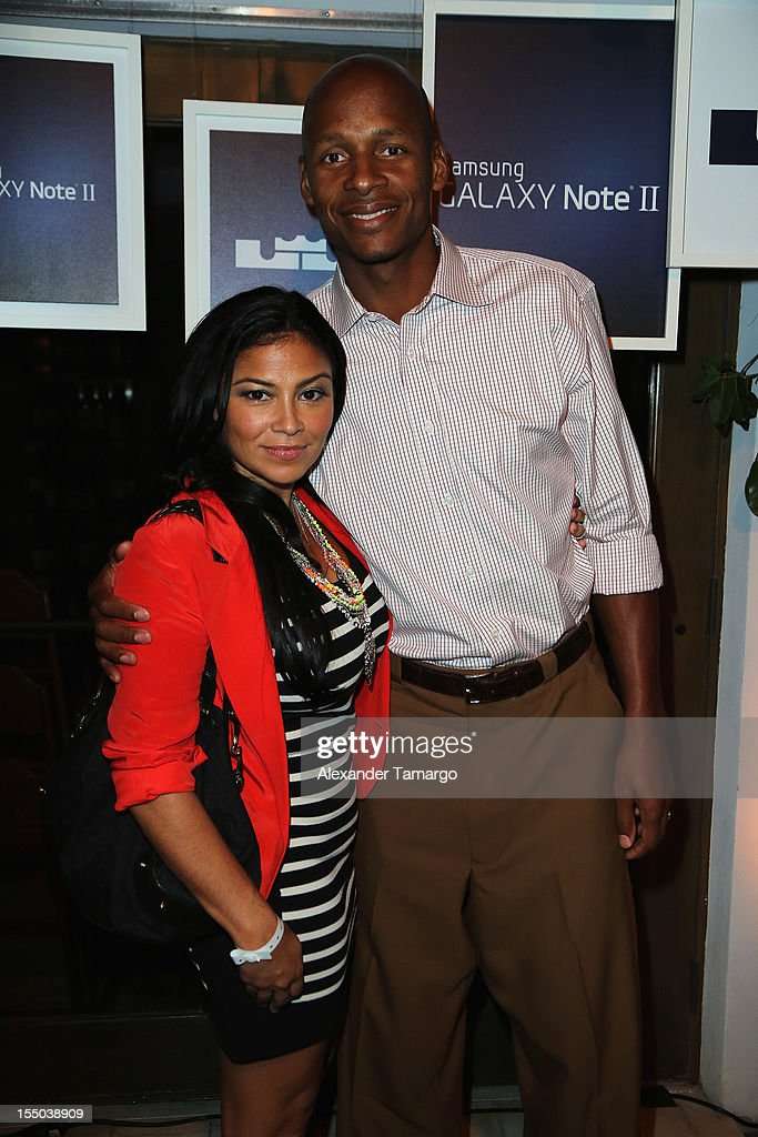 Miami Heat player <a gi-track='captionPersonalityLinkClicked' href=/galleries/search?phrase=Ray+Allen&family=editorial&specificpeople=201511 ng-click='$event.stopPropagation()'>Ray Allen</a> (R) and wife Shannon Walker Williams attend Samsung Galaxy Note II Presents: The Next Big Thing & The Ring at Soho Beach House Miami on October 30, 2012 in Miami Beach, Florida.