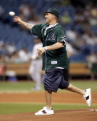 Miami Heat point guard Jason Williams throws out the first pitch in Wednesday night's game between the Tampa Bay Devil Rays and the New York Yankees...
