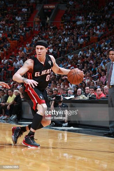Miami Heat point guard Mike Bibby drives to the basket during the game against the Chicago Bulls on March 6 2011 at American Airlines Arena in Miami...