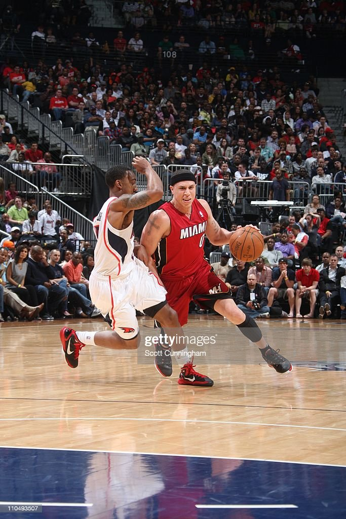 Miami Heat point guard Mike Bibby drives to the basket during the game against the Atlanta Hawks on March 18 2011 at Philips Arena in Atlanta Georgia...