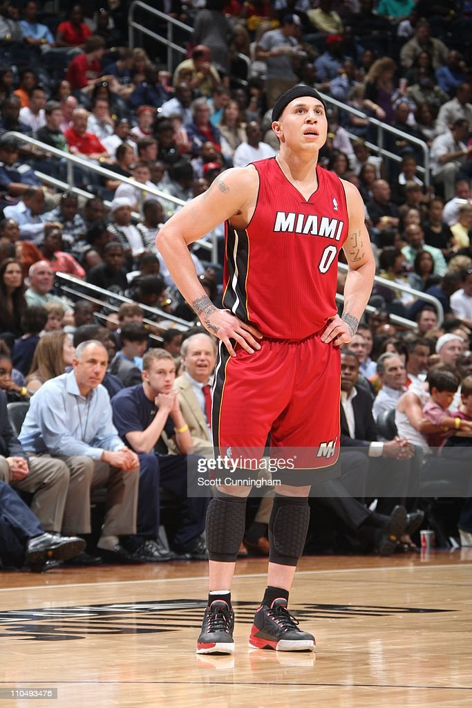 Miami Heat point guard Mike Bibby looks on during the game against the Atlanta Hawks on March 18 2011 at Philips Arena in Atlanta Georgia The Heat...