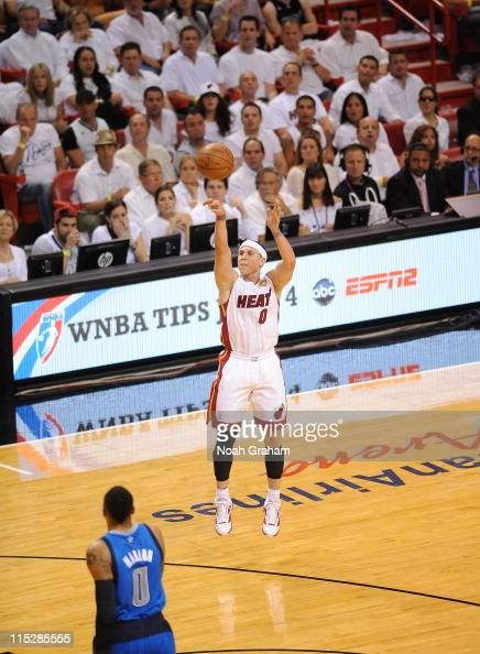 Miami Heat point guard Mike Bibby shoots the ball during the play against the Dallas Mavericks during Game Two of the 2011 NBA Finals on June 02 2011...