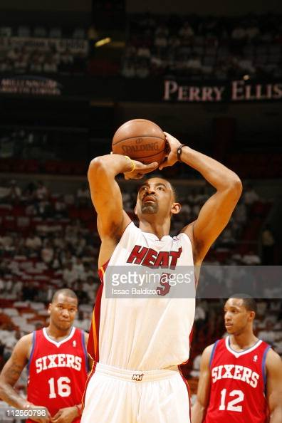 Miami Heat power forward Juwan Howard shoots a free throw during the action against the Philadelphia 76ers in Game Two of the Eastern Conference...