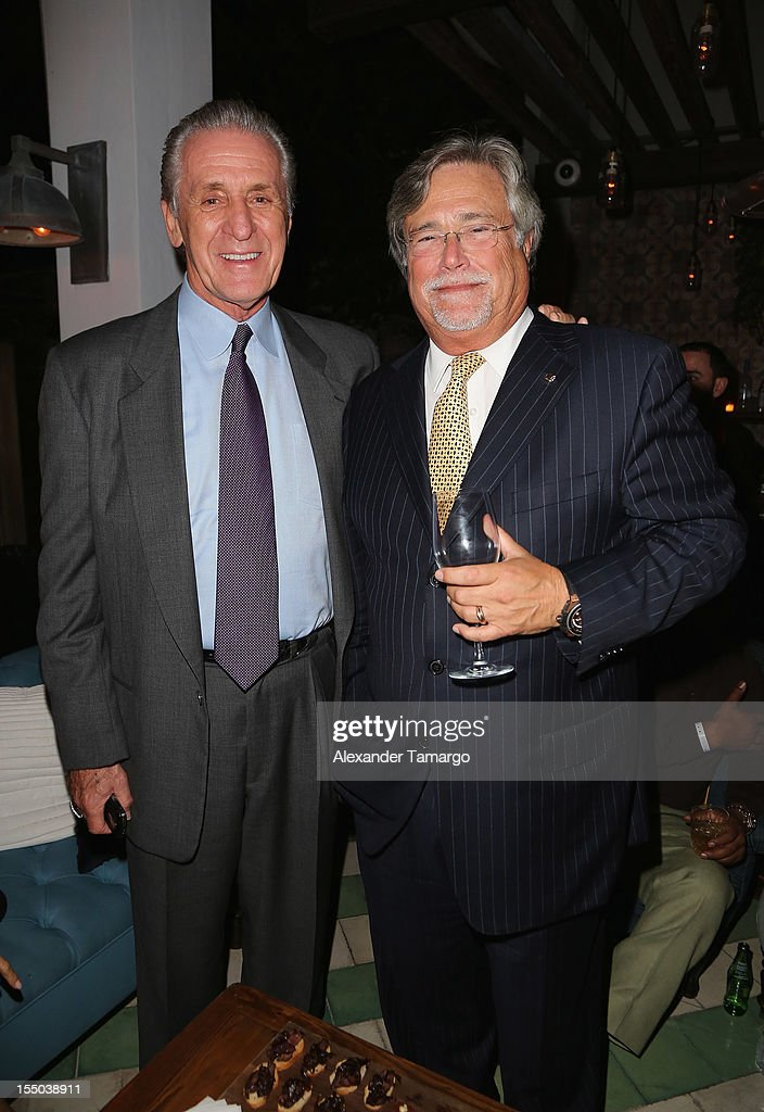 Miami Heat President Pat Riley (L) and Managing General Partner Micky Arison attend Samsung Galaxy Note II Presents: The Next Big Thing & The Ring at Soho Beach House Miami on October 30, 2012 in Miami Beach, Florida.