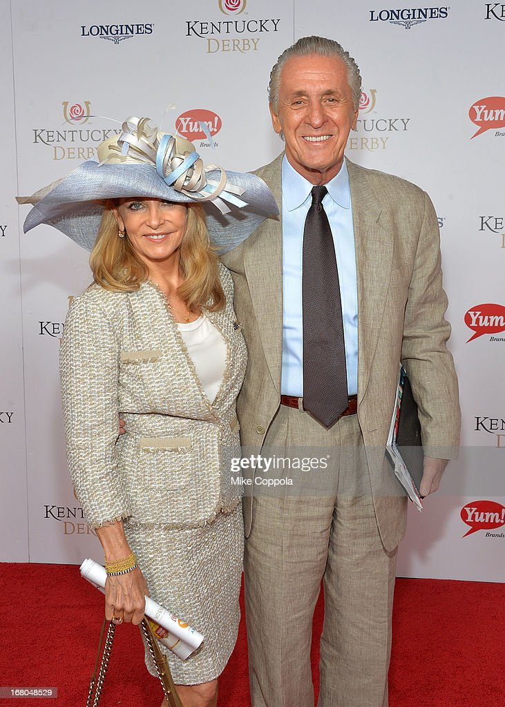 Miami Heat President Pat Riley (R) and wife Chris celebrate the 139th Kentucky Derby with Moet & Chandon at Churchill Downs on May 4, 2013 in Louisville, Kentucky.