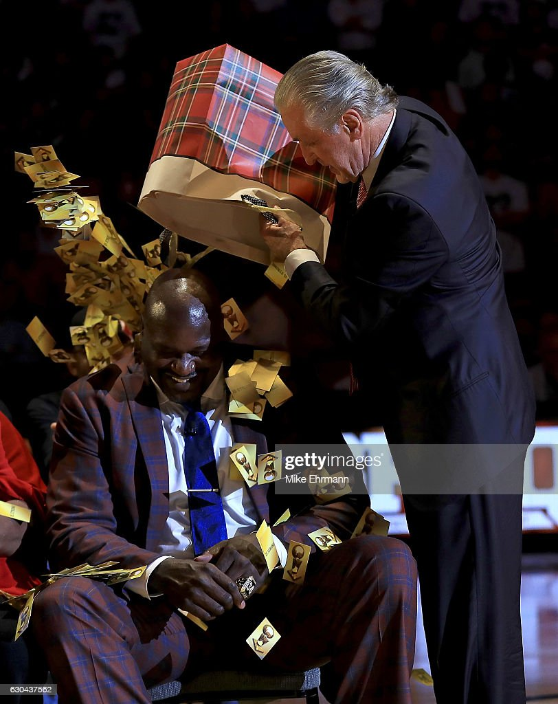 Miami Heat president Pat Riley speaks during a ceremony to honor Shaquille O'Neal as he has his number retired during a game between the Miami Heat and the Los Angeles Lakers at American Airlines Arena on December 22, 2016 in Miami, Florida.