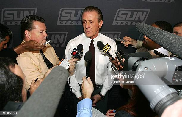 Miami Heat President Pat Riley who assumed head coaching duties on December 12 following the resignation of Stan Van Gundy meets with reporters...