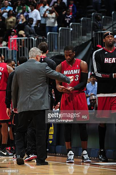 Miami Heat shooting guard Dwyane Wade is seen during the game against the Atlanta Hawks on March 18 2011 at Philips Arena in Atlanta Georgia The Heat...