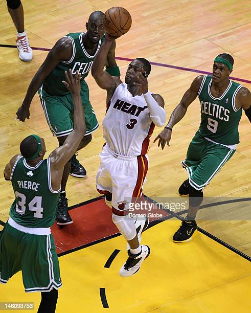 Miami Heat shooting guard Dwyane Wade sliced through the Boston Celtics defense for this layup in the fourth quarter Boston Celtics NBA basketball...