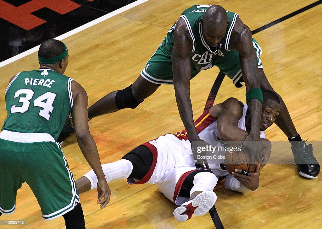 Miami Heat shooting guard Dwyane Wade stole the ball and then got the foul called during the fourth quarter Boston Celtics NBA basketball action and...