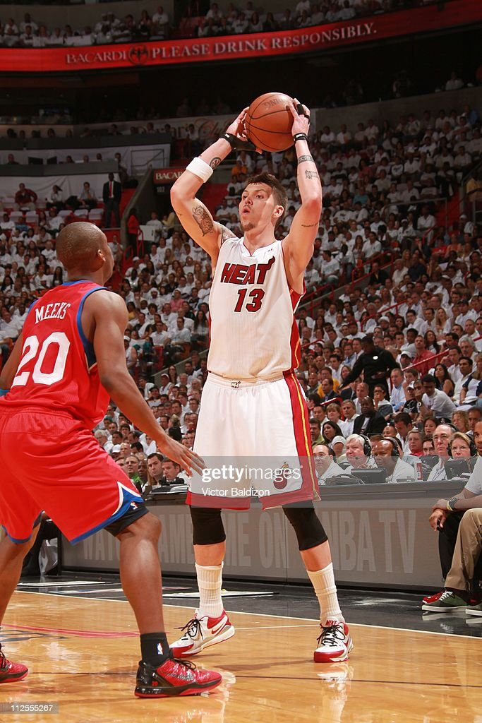 Miami Heat shooting guard <a gi-track='captionPersonalityLinkClicked' href=/galleries/search?phrase=Mike+Miller+-+Joueur+de+basketball&family=editorial&specificpeople=201801 ng-click='$event.stopPropagation()'>Mike Miller</a> #13 aims during the action against the Philadelphia 76ers in Game Two of the Eastern Conference Quarterfinals in the 2011 NBA Playoffs on April 18, 2011 at American Airlines Arena in Miami, Florida. The Heat won 94-73.