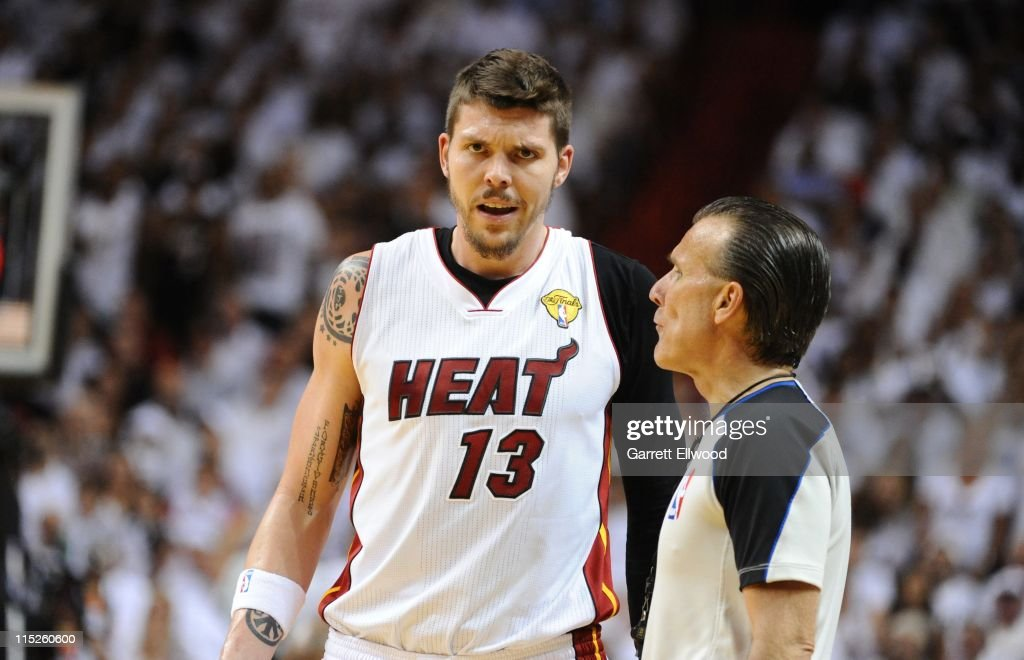 Miami Heat shooting guard <a gi-track='captionPersonalityLinkClicked' href=/galleries/search?phrase=Mike+Miller+-+Basketball+Player&family=editorial&specificpeople=201801 ng-click='$event.stopPropagation()'>Mike Miller</a> #13 speaks to a referee during the play against the Dallas Mavericks in Game Two of the 2011 NBA Finals on June, 2 2011 at the American Airlines Arena in Miami, Florida. The Mavericks won 95-93.