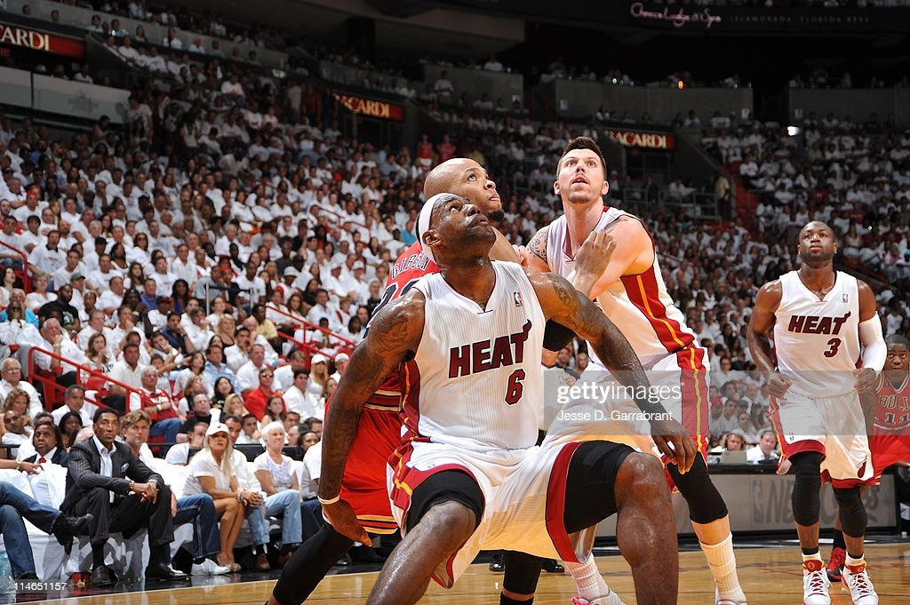 Miami Heat small forward <a gi-track='captionPersonalityLinkClicked' href=/galleries/search?phrase=LeBron+James&family=editorial&specificpeople=201474 ng-click='$event.stopPropagation()'>LeBron James</a> #6 and Miami Heat shooting guard <a gi-track='captionPersonalityLinkClicked' href=/galleries/search?phrase=Mike+Miller+-+Basketball+Player&family=editorial&specificpeople=201801 ng-click='$event.stopPropagation()'>Mike Miller</a> #13 wait for rebound during the play against the Chicago Bulls during Game Three of the Eastern Conference Finals in the 2011 NBA Playoffs on May 22, 2011 at the American Airlines Arena in Miami, Florida.