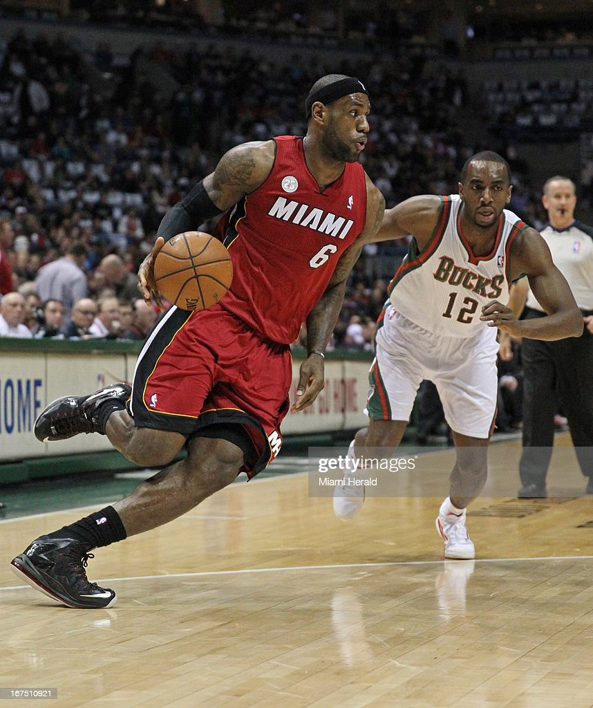 Miami Heat small forward LeBron James (6) drives to the basket against Milwaukee Bucks power forward Luc Richard Mbah a Moute (12) during first-quarter action in Game 3 of the NBA Eastern Conference playoffs at the BMO Harris Bradley Center in Milwaukee, Wisconsin, Thursday, April 25, 2013.