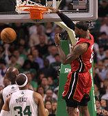 Miami Heat small forward LeBron James scores in the first quarter Boston Celtics NBA basketball action and reaction The Celtics play the Miami Heat...