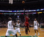 Miami Heat small forward LeBron James shoots over the top of Boston Celtics power forward Kevin Garnett Boston Celtics shooting guard Ray Allen and...