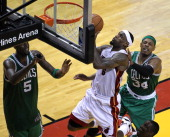 Miami Heat small forward LeBron James takes it to the rim late in the fourth quarter Boston Celtics NBA basketball action and reaction The Celtics...