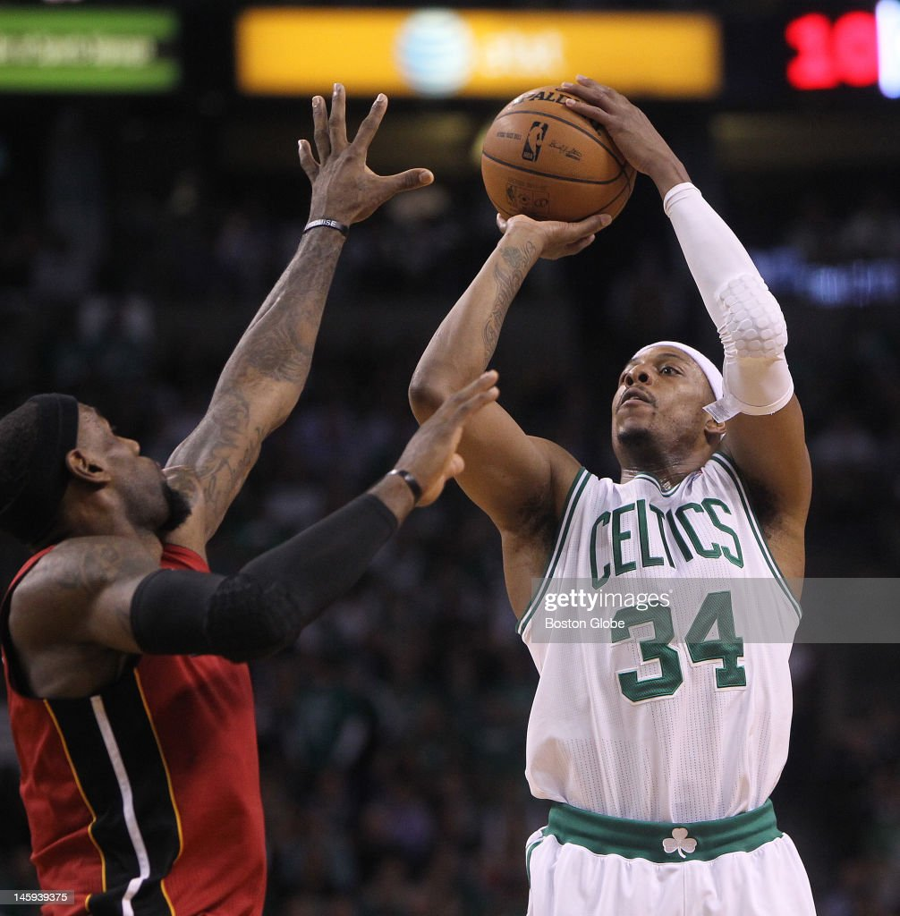 Miami Heat small forward LeBron James tries to block a shot by Boston Celtics small forward Paul Pierce in the first quarter Boston Celtics NBA...