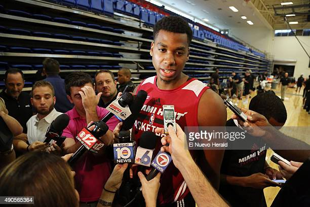 Miami Heat's Hassan Whiteside talks to the media after practice on the first day of Heat training camp on Tuesday Sept 29 at Florida Atlantic...