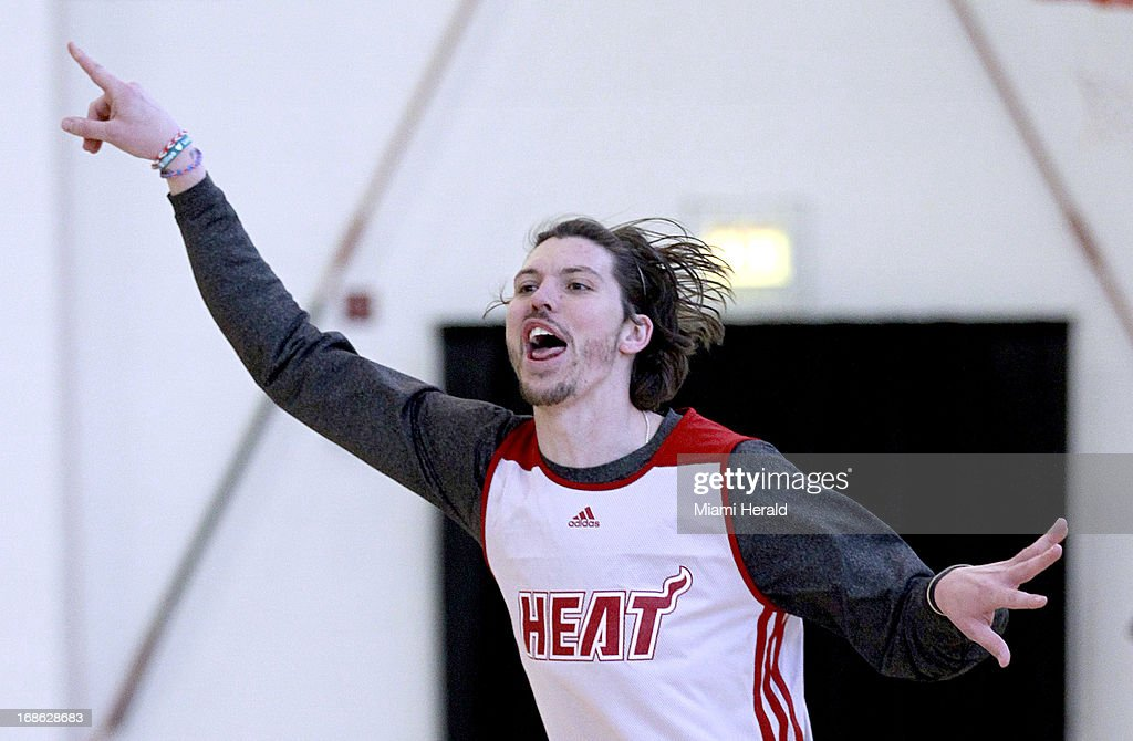 Miami Heat's Mike Miller reacts after hitting a three-pointer during practice in Chicago, Illinois, Sunday, May 12, 2013.
