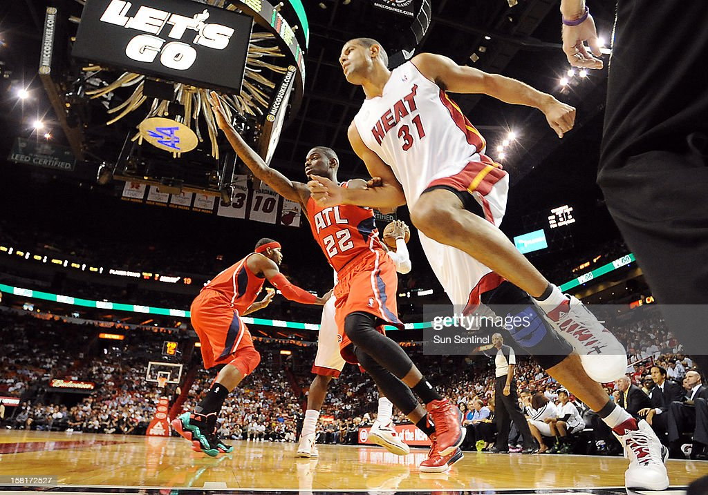 Miami Heat's Shane Battier works the perimeter against Atlanta Hawks' Anthony Morrow at American Airlines Arena on Monday, December 10, 2012, in Miami, Florida.