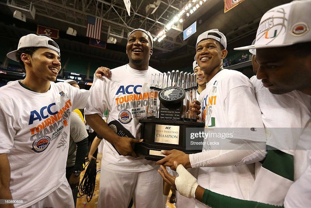 Miami (Fl) Hurricanes celebrate with the conference championship trophy after they won 87-77 against the North Carolina Tar Heels during the final of the Men's ACC Basketball Tournament at Greensboro Coliseum on March 17, 2013 in Greensboro, North Carolina.