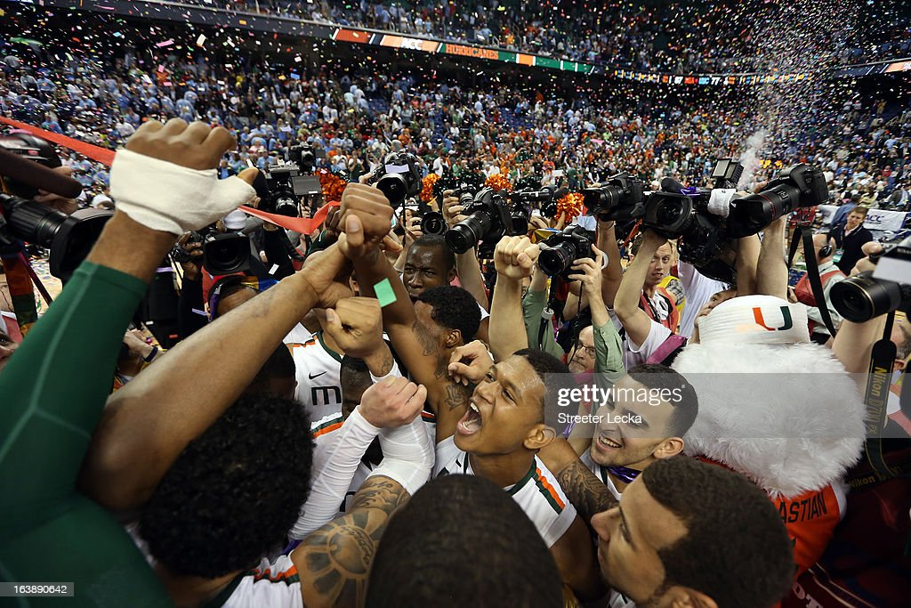 Miami (Fl) Hurricanes celebrates after they won 87-77 against the North Carolina Tar Heels during the final of the Men's ACC Basketball Tournament at Greensboro Coliseum on March 17, 2013 in Greensboro, North Carolina.