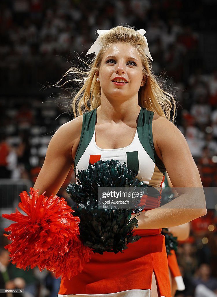 A Miami Hurricanes cheerleader performs prior to the game against the Clemson Tigers on March 9, 2013 at the BankUnited Center in Coral Gables, Florida. The Hurricanes defeated the Tigers 62-49 and won the Atlantic Coast Conference Championship.