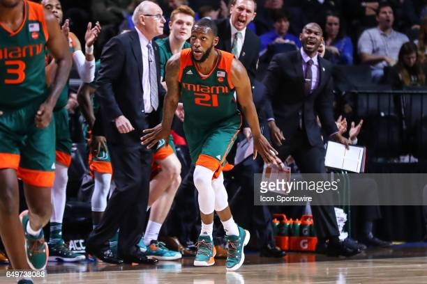 Miami Hurricanes forward Kamari Murphy reacts after making a basket during the second half of the 2017 New York Life ACC Tournament second round game...