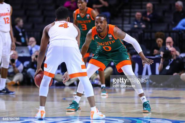 Miami Hurricanes guard Ja'Quan Newton during the first half of the 2017 New York Life ACC Tournament second round game between the Syracuse Orange...