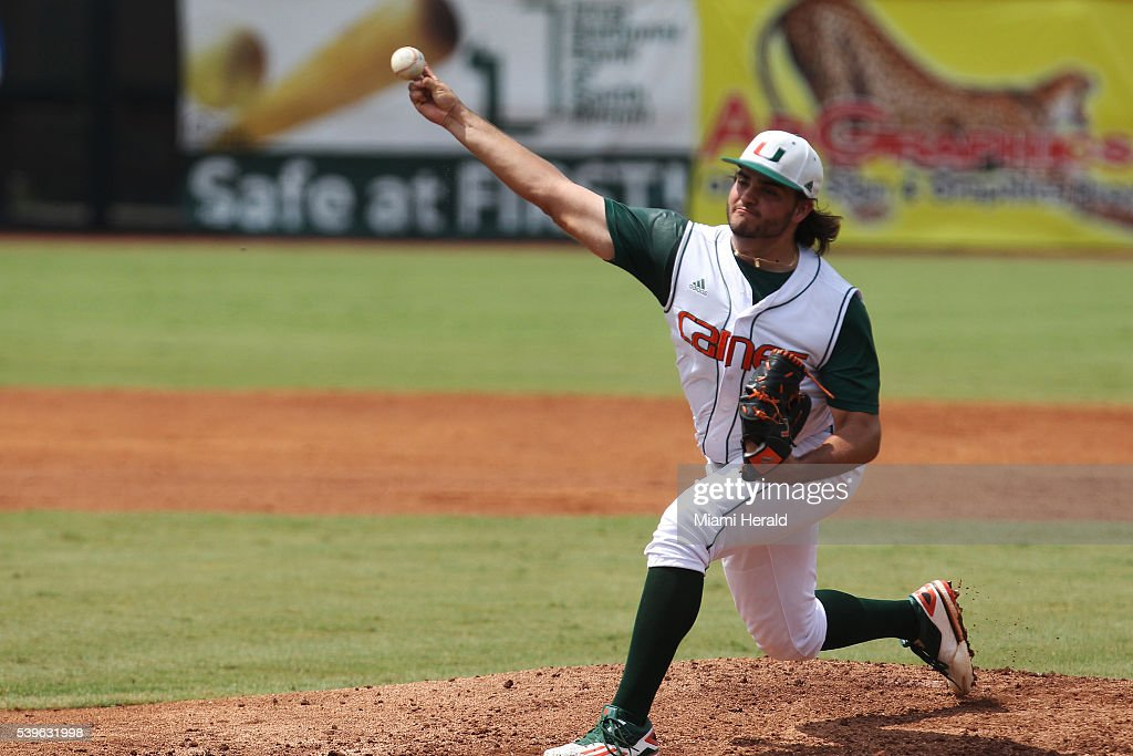 Miami Hurricanes pitcher Bryan Garcia throws a strike during Game 3 of the NCAA Super Regionals on Sunday June 12 at Mark Light Field in Coral Gables...