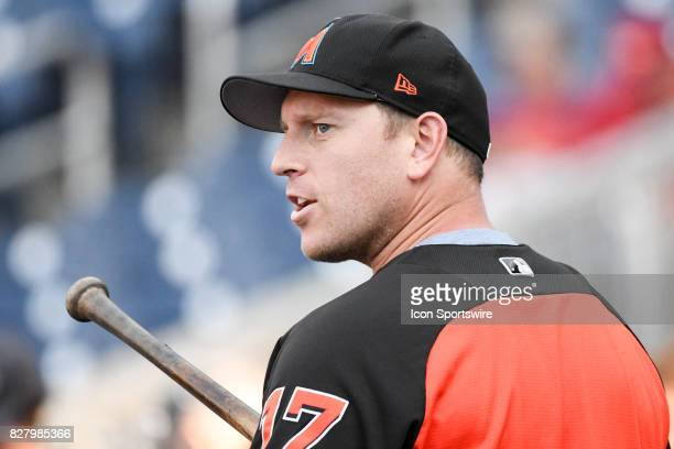 Miami Marlins catcher AJ Ellis takes batting practice during an MLB game between the Miami Marlins and the Washington Nationals on August 8 at...