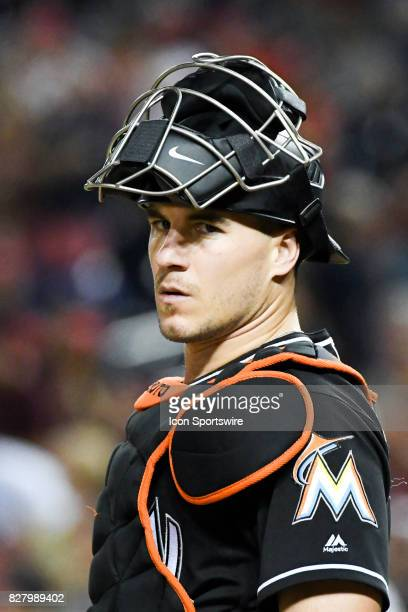 Miami Marlins catcher JT Realmuto looks to the dugout during an MLB game between the Miami Marlins and the Washington Nationals on August 8 at...