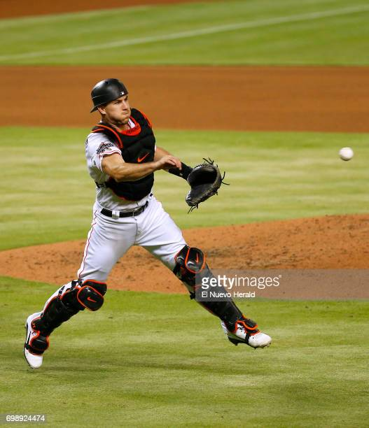 Miami Marlins catcher JT Realmuto throws out the Washington Nationals' Matt Wieters during the fourth inning at Marlins Park in Miami on Tuesday June...