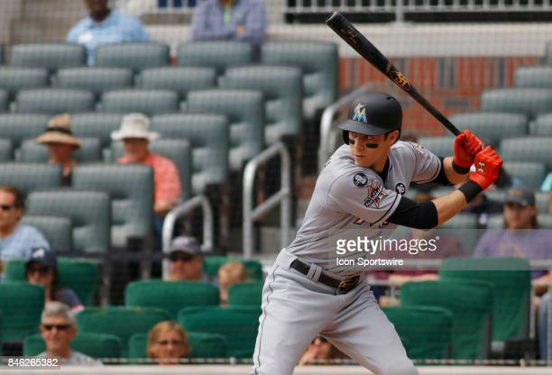 Miami Marlins center fielder Christian Yelich bats during the major league baseball game between the Atlanta Braves and the Miami Marlins on...