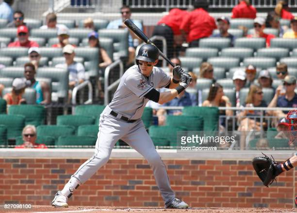 Miami Marlins center fielder Christian Yelich during the MLB game between the Atlanta Braves and the Miami Marlins on August 6 2017 at SunTrust Park...