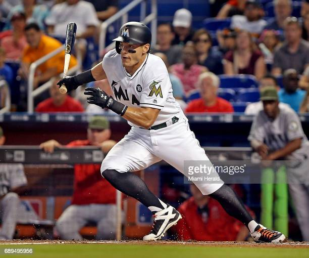 Miami Marlins' Derek Dietrich in the third inning against the Los Angeles Angels on Sunday May 28 2017 at Marlins Park in Miami Fla
