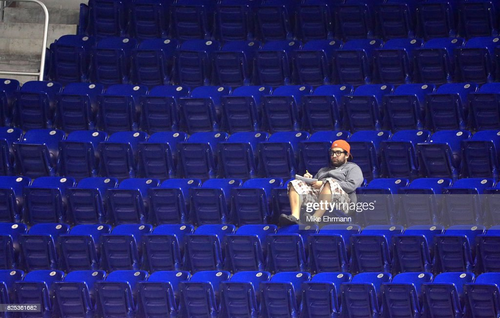A Miami Marlins fan watches a game against the Washington Nationals at Marlins Park on August 1, 2017 in Miami, Florida.