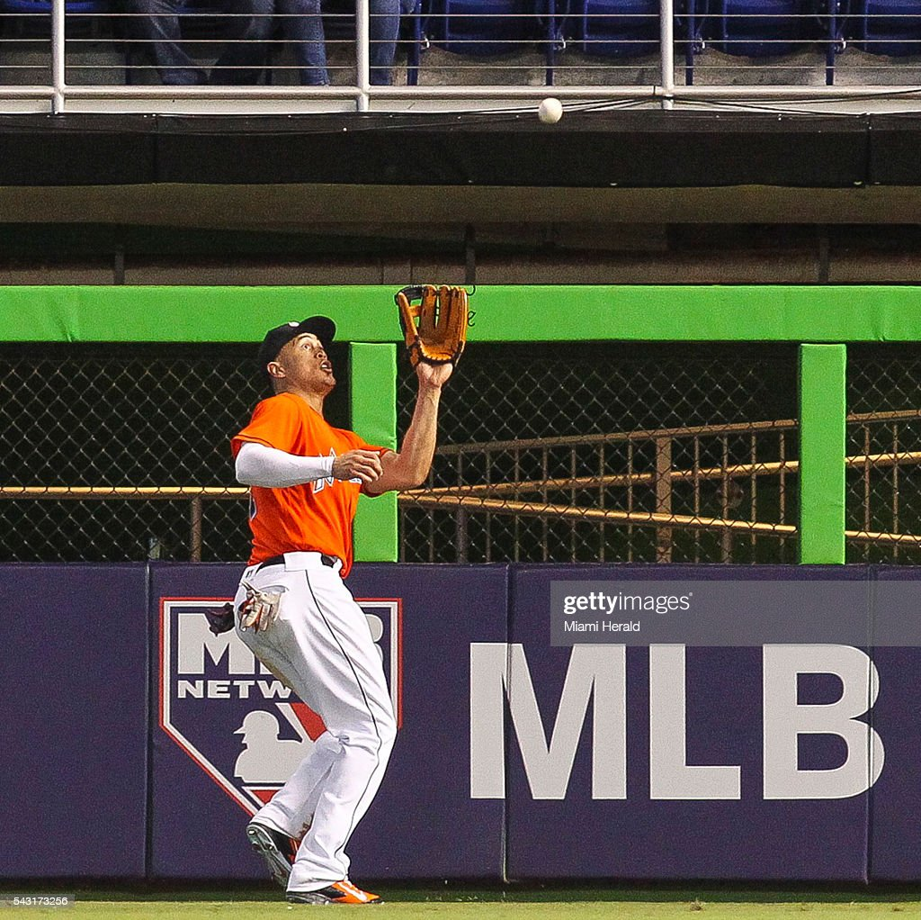 Miami Marlins' Giancarlo Stanton (27) catches a fly ball in right field from Chicago Cubs' Miguel Montero (47) during the ninth inning on Sunday, June 26, 2016, at Marlins Park in Miami.