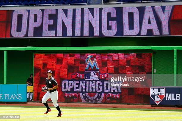 Miami Marlins' Giancarlo Stanton warms up as the team prepares to play the Atlanta Braves on opening day on Monday April 6 at Marlins Park in Miami