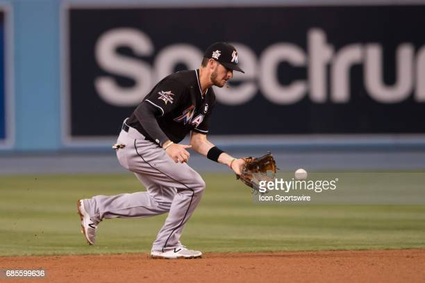 Miami Marlins Infield JT Riddle fields a ground ball in the third inning during the game between the Miami Marlins and the Los Angeles Dodgers on May...