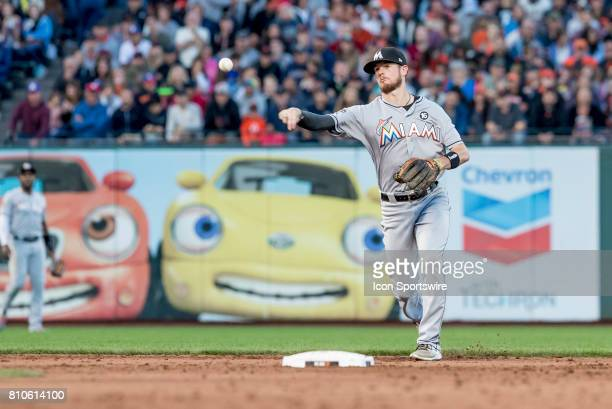 Miami Marlins Infield JT Riddle gets a casual out during the Major League Baseball game between the Miami Marlins and the San Francisco Giants on...