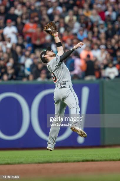 Miami Marlins Infield JT Riddle makes an acrobatic catch during the Major League Baseball game between the Miami Marlins and the San Francisco Giants...