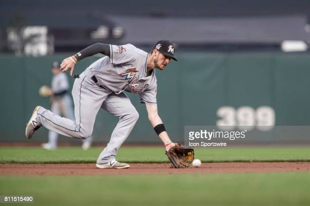 Miami Marlins Infield JT Riddle scoops up a ground ball during the Major League Baseball game between the Miami Marlins and the San Francisco Giants...